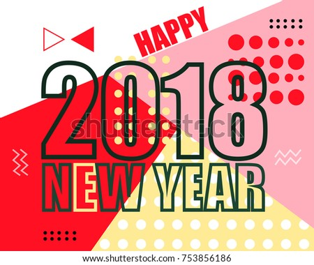 2018 new year and christmas modern poster cover banner memphis line style