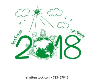 2018 new year in creative drawing environmental and eco-friendly technologies, energy saving, ecological recycling. Vector illustration layout template design