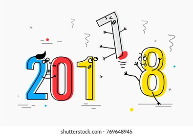 2018 New Year flat line design concept for greeting card and banner. Funny cartoon interpretation to the outgoing 2017 vector illustration isolated on white background
