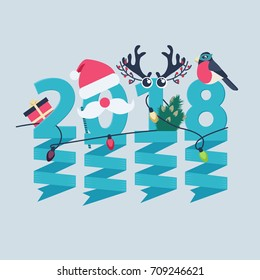 2018 New Year greeting card design with party streamers hanging from blue numerals decorated with Christmas lights, a gift, robin, tree and antlers