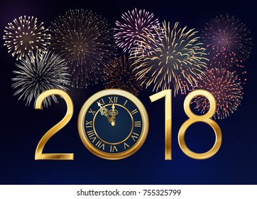 2018 New Year greeting card with golden clock  and fireworks. EPS 10 contains transparency.