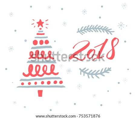 2018 new year greeting card template with red numbers and hand drawn christmas tree
