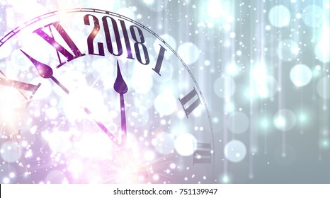 2018 New Year lilac shining banner with clock. Vector illustration.