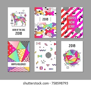 2018 New Year Memphis Style Abstract Posters Set with Dog. Chinese Calendar, Banner, Template, Brochure. Geometric Trendy Bright Composition. Vector illustration