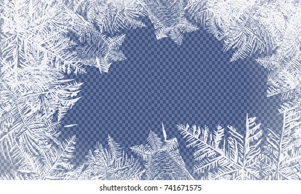 2018 New Year on ice frosted background. RGB. Global colors. One editable gradient is used for easy recolor. Vector illustration. icy Christmas background. snow and icicles