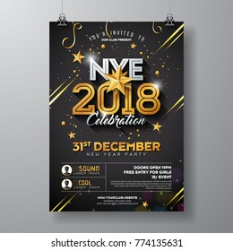 2018 New Year Party Celebration Poster Template Illustration with Shiny Gold Number on Black Background. Vector Holiday Premium Invitation Flyer or Promo Banner.