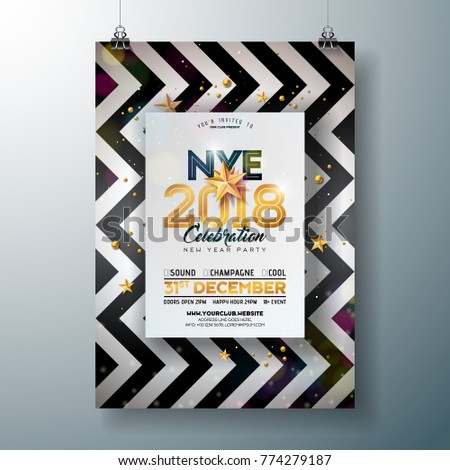 2018 New Year Party Celebration Poster Stock Vector (Royalty Free ...