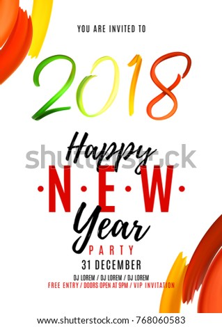 2018 new year party flyer hand drawn lettering isolated on white background design of