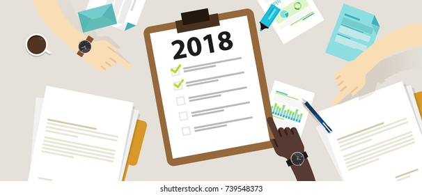 2018 new year resolution and target business check list together planning