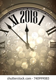 2018 New Year sepia background with clock. Vector illustration.