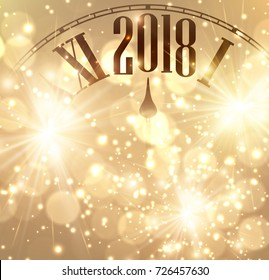 2018 New Year shining background with clock. Vector illustration.