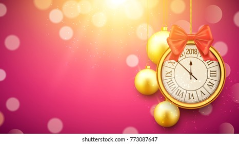 2018 new year shining background with clock. Happy new year 2018 celebration decoration golden balls poster, festive card template.