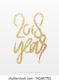 2018 New Year. Text golden with bright sparkles.