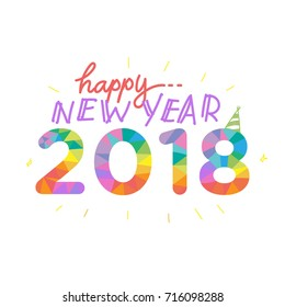 2018 New Year text for Greeting Card or Poster Design