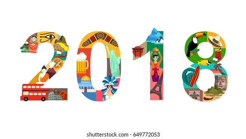 2018 New Year Travel Vector Illustration
