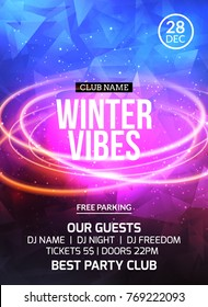 2018 new year winter dance party celebration flyer design template. Holiday invitation party poster card for music event in night club.