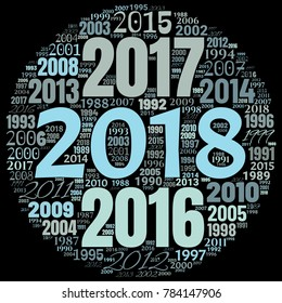2018 new year word cloud. Holidays lettering collage. Vector illustration