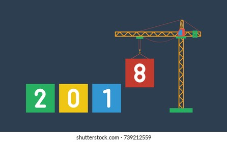 2018. Number of new year with crane. New year illustration. New year flat design.