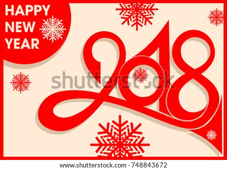 2018 numbers and new year greetings in vintage style with snowflakes red objects on a