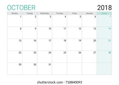 2018 October calendar or desk planner, weeks start on Monday - plain white and light green theme