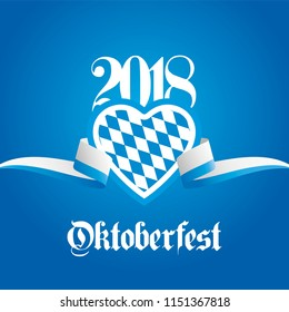 2018 Oktoberfest heart Bavaria ribbon blue background