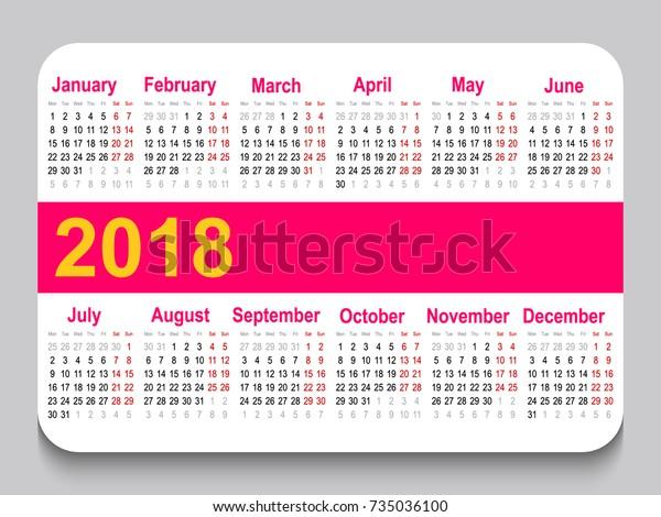 2018 Pocket Calendar Template Calendar Grid Stock Vector (Royalty