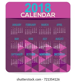 2018 Purple Geometric Printable Calendar Starts Sunday Vector Illustration