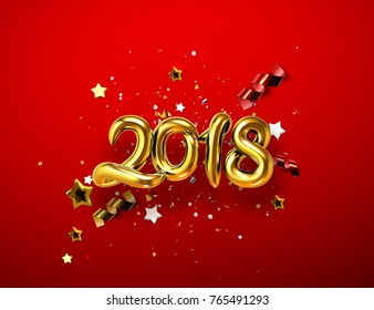 2018 realistic golden sign on red background with sparkling confetti, tinsel particles, stars and ribbons. Happy New Year holiday banner. Vector illustration with realistic metallic hanging numbers.