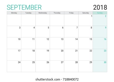 2018 September calendar or desk planner, weeks start on Monday - plain white and light green theme