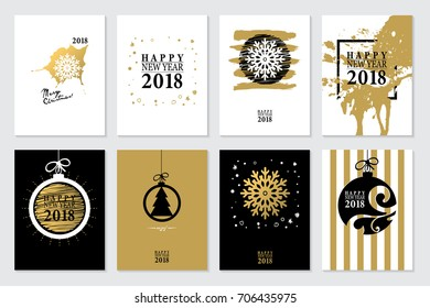 2018 Set of Happy New Year card or background. Trendy style with hand-lettering words. Vector illustration Black, white, gold colors design. Banner template for flat design.