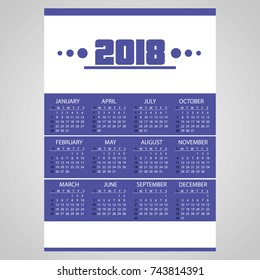 2018 simple business blue wall calendar with white eps10