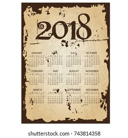 2018 simple business wall calendar with torn old paper background eps10