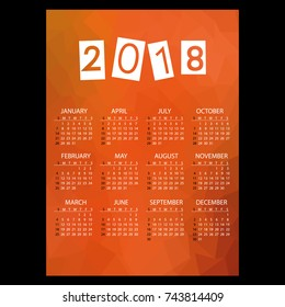2018 simple business wall calendar with low polygon theme pattern eps10