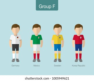 2018 Soccer or football team uniform. Group F with GERMANY,MEXICO,SWEDEN, KOREA REPUBLIC. Flat design. Vector illustration.