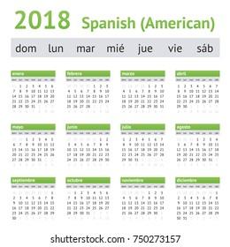 2018 Spanish American Calendar. A week starts on Sunday