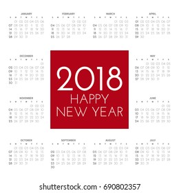 2018 square calendar with 12 months on the contour on a white background. In the centre an inscription in a red square: happy new year. Vector illustration.