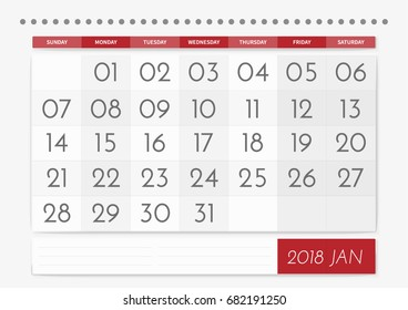 2018 table calendar wall with a large font simple classic style vector