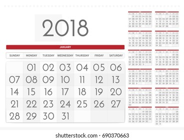 2018 table calendar wall with a large font one large and 12 small views