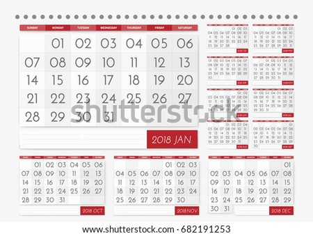 2018 table calendar wall with a large font a set of 12 months