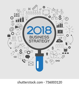 2018 text design on creative business success strategy. Concept modern template layout. 2018 text surrounded by doodle icons