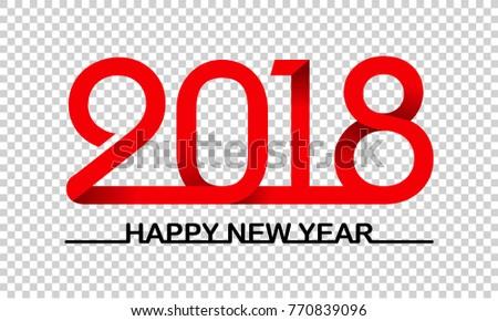 2018 text design transparent background new years minimalistic design