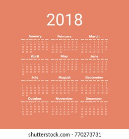 2018 two colour calendar. Week Starts Monday. Vertical Orientation with white text on orange background. Set of 12 Months.