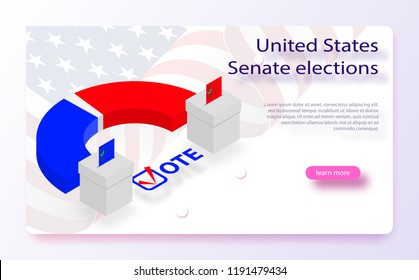 2018 United States elections. US midterm elections 2018: the race for Congress. Symbol of republican government. Decision of voter. Democracy campaign. Vote Republican Midterms. Isometric vector.