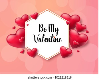 2018 Valentine's day background with textbox and beautifull hearts. Vector illustration