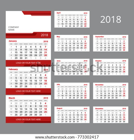 2018 Vector Calendar Template Three Month Stock Vector Royalty Free