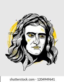 Oсt.17, 2018: Vector illustration hand drawn. Isaac Newton. Creative sculpture