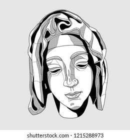 Oсt.29, 2018: Vector illustration hand drawn. The Madonna sculpture.