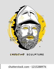 Oсt.29, 2018: Vector illustration hand drawn. Pericles with the Corinthian Helmet. Creative sculpture.