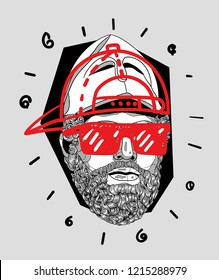 Oсt.29, 2018: Vector illustration hand drawn. Pericles with the Corinthian Helmet with cap and glasses. Modern / crazy / mad sculpture.