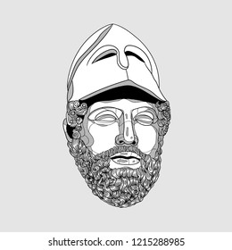 Oсt.29, 2018: Vector illustration hand drawn. Pericles with the Corinthian Helmet